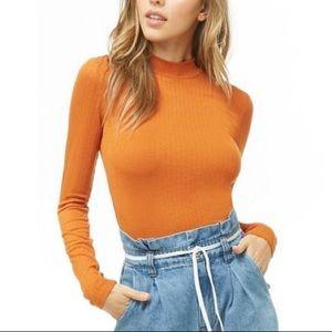 Forever 21 Orange Ribbed Knit Top